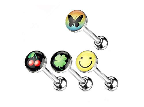 PIERCE ME (4pcs) Cherry,Shamrock,Butterfly and Happy face Tongue Barbell Ring 14G 5/8