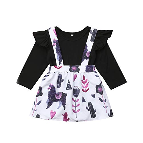Baby Girl Cotton Basic Bodysuit Top Alpaca Cactus Leaf Overall Skirt Outfits Clothes (Black, 9-12M)