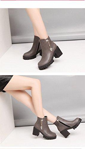 de ANI Zapatos Y Alto E Gris Marea Invierno Americanos de Terciopelo Otoño Botas Mujer Tacón de Redondo Boots Moda de Además de Europeos Martin Perlas de 6XwqrF6