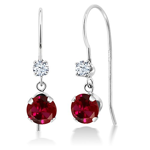 1.30 Ct Round Red Created Ruby 14K White Gold Earrings