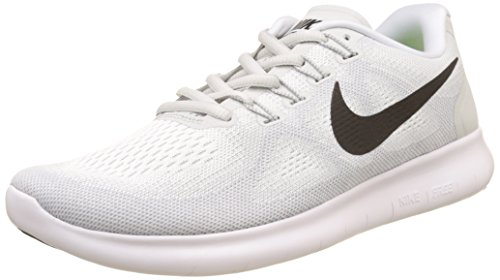 (NIKE Men's Free RN 2017 Running Shoe White/Black/Pure Platinum Size 8 M US)