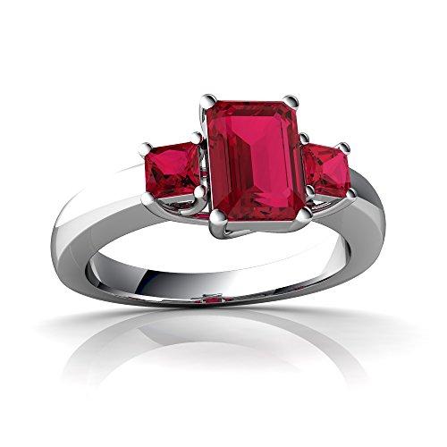 14kt White Gold Lab Ruby 7x5mm Emerald_Cut Three Stone Trellis Ring - Size 4 ()