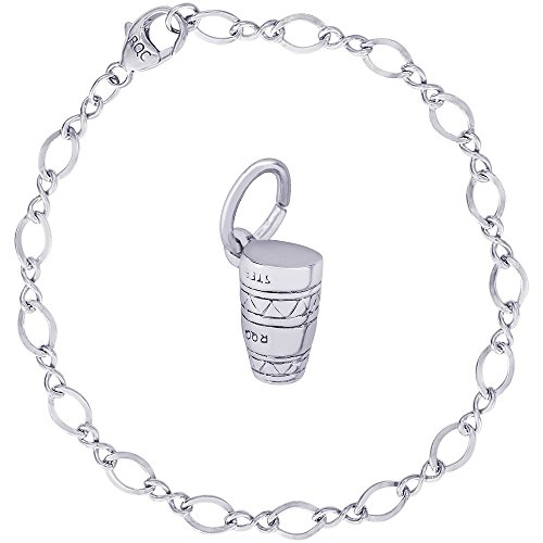 Rembrandt Charms Sterling Silver Caribbean Bongo Drum Charm on a Figure Eight Link Bracelet, -