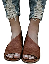 Women Casual D'orsay Open-toe Flats Slip-On Cut Out Asymmetrical Sandal Low Heel Shoes