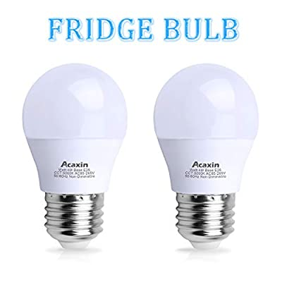 LED Refrigerator Light Bulb 40Watt Equivalent, Acaxin Waterproof Freezer Light Bulb IP54, 120V E26 Daylight White 5000k 400 Lumen, Energy Saving A15 Fridge Bulbs, 2 Pack