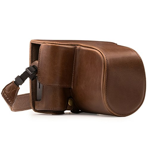 MegaGear Fujifilm X-T2 Ever Ready Leather Camera Case and Strap, with Battery Access - Dark Brown - MG871