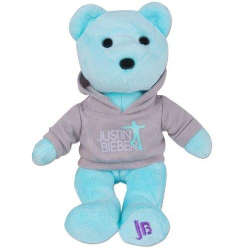 Bravado Justin Bieber Blue Teddy Bear Mini Stuffed Animal Plush (Bear Bieber Justin)