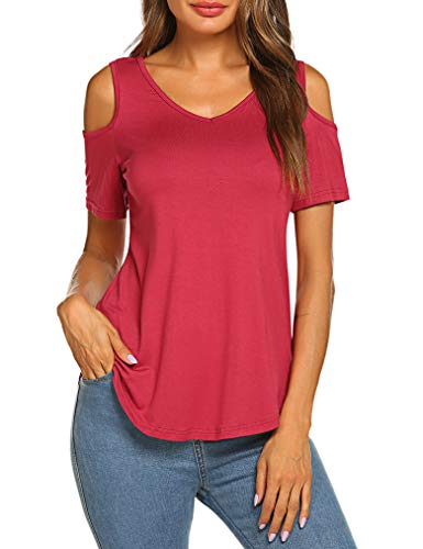 (Sherosa Womens Summer Short Sleeve Cold Shoulder Tops V Neck Basic T Shirts (S, Wine Red))
