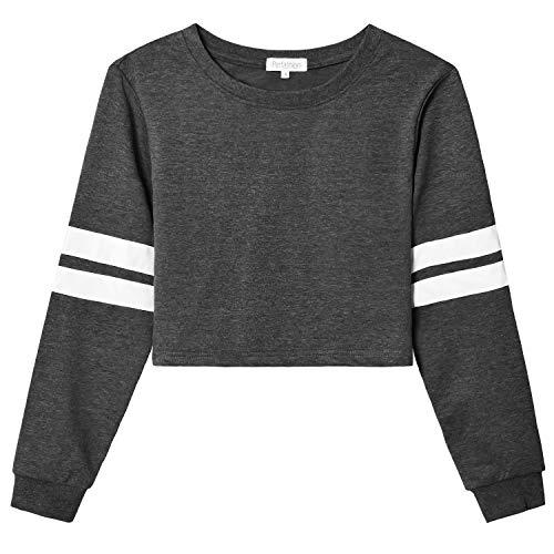 Workout Tops for Women Grey Sweatershirt Gear Leather Stripes Slimming Hiker Backpacker Camper Running Yoga Wear Gift Jogging Ssoft Sportswear Traveling ()