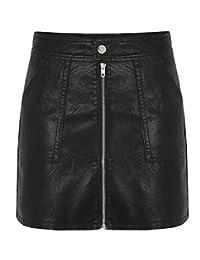 grmo Mujer cierre Up Mini faldas de piel sintética con 2bolsillos