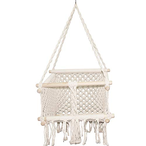 E EVERKING Hammock Baby Swing Chair Handmade Macrame Cotton Rope Weaved Beige Toddler Children Indoor Outdoor Hanging Chair Swing Playroom Nursery Decor Girl Boy Birthday Gift