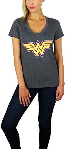 - DC Comics Womens Wonder Woman Logo V-Neck Tee (Charcoal, Small)