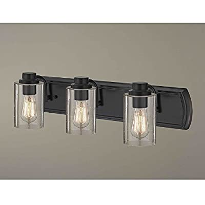 Industrial Seeded Glass Bathroom Light Bronze 3 Lt
