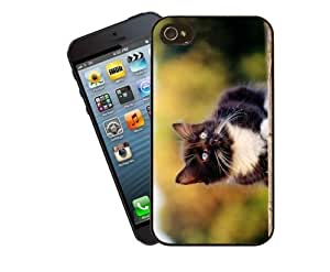 Eclipse Gift Ideas Cat Phone Case, Design 18 - Black And White Kitten - For Apple iPhone 4 / 4s - Cover