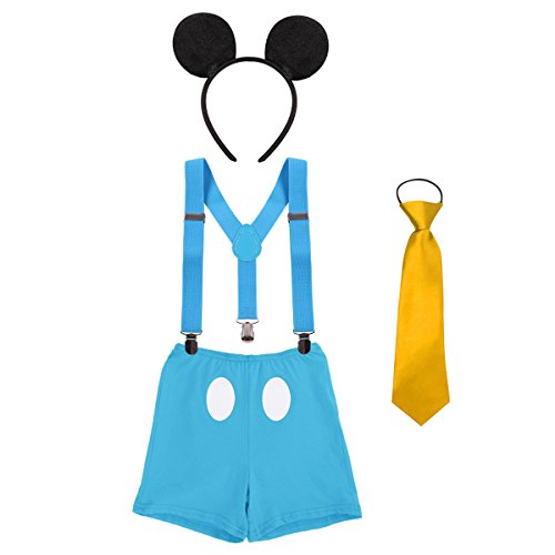 Baby Boy's Girl's Y Back Clip Suspenders 1st/2nd/3rd Birthday Cake Smash Bloomers Bowtie Outfits Set Cute Mouse Ears Costume #2 Blue Boxer Pants 12-18 Months -