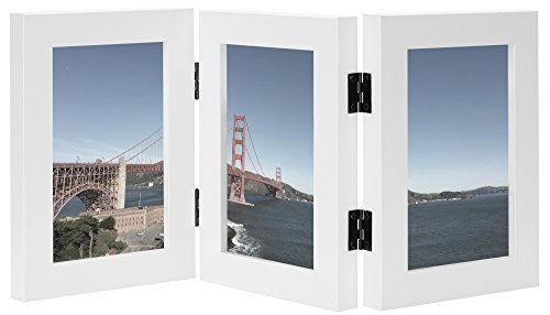 Frametory, 4x6 Inch Triple Hinged White Picture Frame - Stands Vertically on Desk or Table Top - Made to Display Three 4x6 Inch Pictures, Real Glass Front