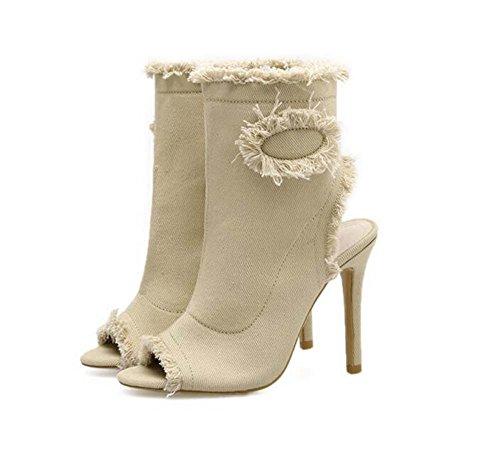 Cool Boots Botas 10.5cm Stiletto Peep Toe Slingbacks Alto Talón Vestido Zapatos Corte Zapatos Mujer Elasticidad Denim Lace Pure Color Bootie Eu Tamaño 35-40 Beige