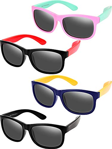 4 Pieces Toddler Sunglasses Children Sunglasses Rubber Flexible Kids Sunglasses, Age 3-10