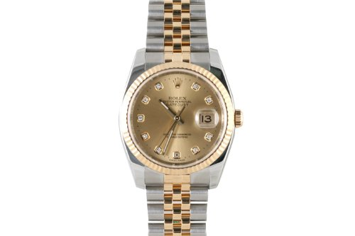 Rolex Mens 2tone New Style Datejust Champagne Diamond Dial ()