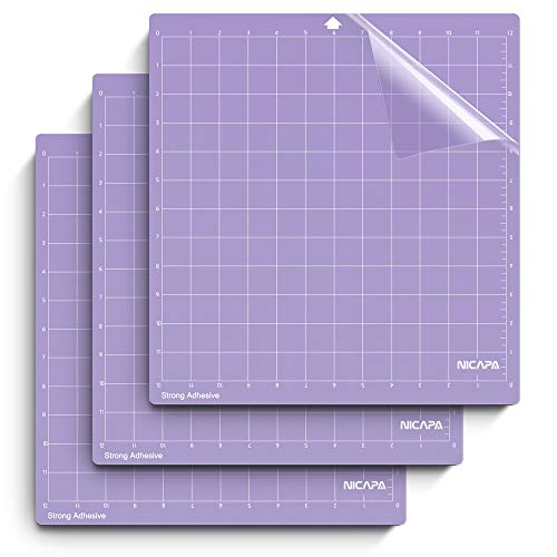 (Nicapa Cutting Mat for Silhouette Cameo 3/2/1 [Strong-Grip,12x12 inch 3pack] Adhesive&Sticky Non-Slip Flexible Square Gridded Purple Cut Mats Replacement Accessories Set matts Vinyl Craft Sewing)