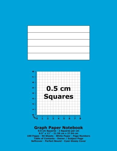 """Books : Graph Paper Notebook: 0.5 cm Squares - 8.5"""" x 11"""" - 21.59 cm x 27.94 cm - 100 Pages - 50 Sheets - White Paper - Page Numbers - Table of Contents - Cyan Glossy Cover"""