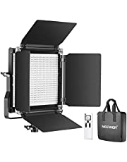 Neewer Advanced 2.4G 660 LED Video Light, Dimmable Bi-Color LED Panel with LCD Screen and 2.4G Wireless Remote for Portrait Product Photography, Studio Video Shooting with Metal U Bracket and Barndoor