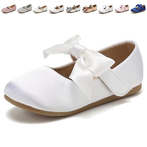 CIOR Toddler Girls Ballet Flats Shoes Ballerina Princess Dress Bowknot Jane Mary Wedding Party,VGZA3,S.White,24