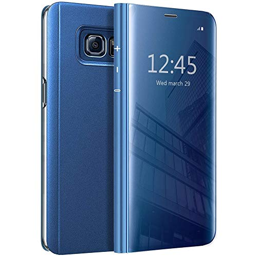 Galaxy Note 5 Flip Case, Eabuy Mirror Plating Hard PC +PU Leather Semi-Transparent Standing View Case Cover for Samsung Galaxy Note 5 Blue