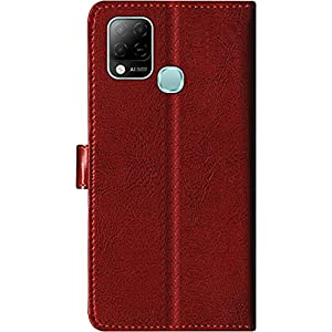 SBMS Leather Flip Cover for Infinix Hot 10s (Brown)