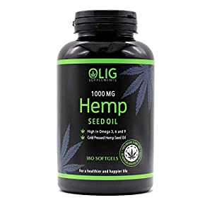 OLIG Supplements Hemp Seed Oil 1000mg – 180 Capsules – Green, Unbleached Oil – Supports Heart, Brain, Skin, Healthy Circulation – Increases Energy & Enhances Mood – Natural Anxiety Relief