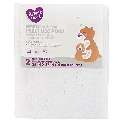 Parent's Choice Reversible Fleece Multi-Use Pads 2 Count, 100 Percent Waterproof