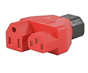Conntek 30103 Y Male Plug Adapter IEC C14 To IEC C13 and U.S. 3 Pin Female Connector