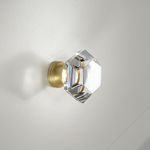 #G-75 CKP Brand Elegance Glass Collection 1-1/4 in. (32mm) Clear Glass Knob with Satin Brass Base - 10 Pack by CKP (Image #4)