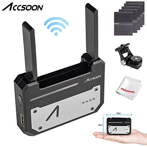 Accsoon CineEye 1080p WiFi HDMI Transmitter 5G Wireless Image Transmission to 4 Devices in a Distance of 100m, Support Android & iOS, Garyscale, RGB, False Color, 3D LUT Loading, W/PERGEAR Cloth