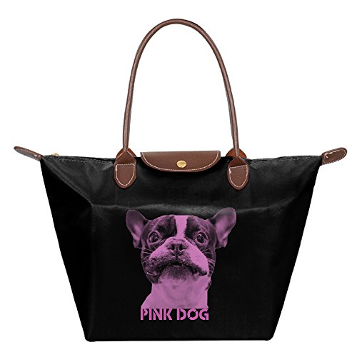 FALKING Women's Pink Dog Waterproof Hand Bag Tote Bag For Beach Shopping With Zipper