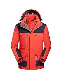 Zilee Men Ski Jacket 3 in 1 Warm Coat Windbreaker Breathable Snow Suit Fleece Inner