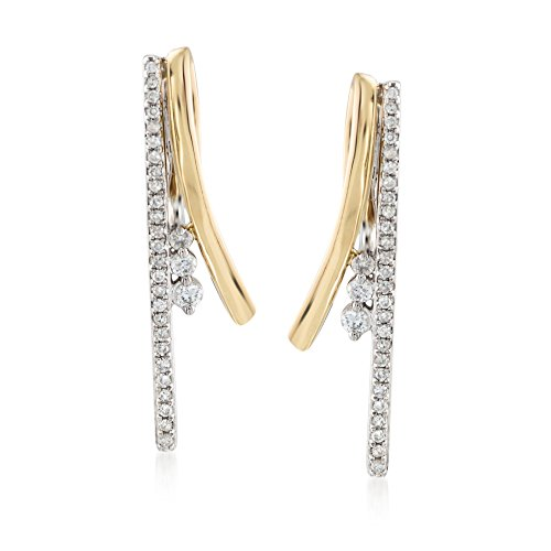 Ross-Simons .33 ct. t.w. Diamond Linear Earrings in 14kt Two-Tone Gold (Diamond 14kt Earrings 2 Tone)