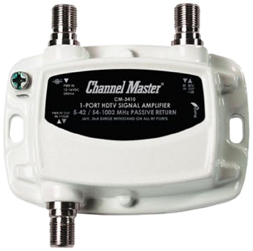 Vhf Amplifier - Channel Master CM-3410 1-Port Ultra Mini Distribution Amplifier for Cable and Antenna Signals
