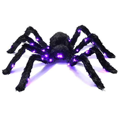 (Prextex Light up Black Hairy Spider/Tarantula for Halloween Haunt Décor Best Halloween Decoration)