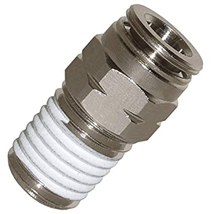 Push To Connect Fittings >> Utah Pneumatic Push To Connect Fittings Nickel Plated Brass Pc Male Straight 3 8 Od 1 4 Npt Thread Straight Connect Push Fit Fittings Tube Fittings