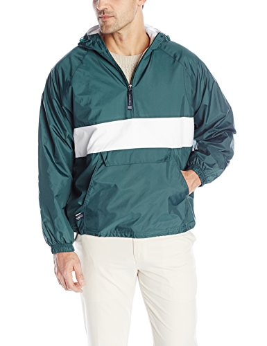 Charles River Apparel Wind & Water-Resistant Pullover Rain Jacket (Reg/Ext Sizes), Forest/White, XL