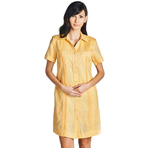 Mojito Lady 100% Linen Gyatabera Dress with Short Sleeve Yellow Size Large