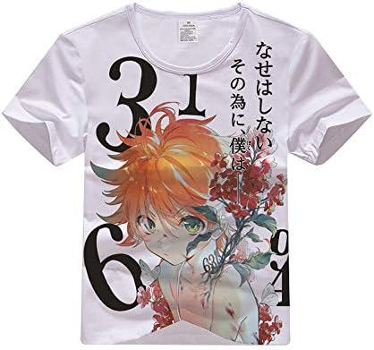 The Promised Neverland Camiseta Algodón Transpirable Manga Corta Camiseta Estampada Suelta Primavera y Verano