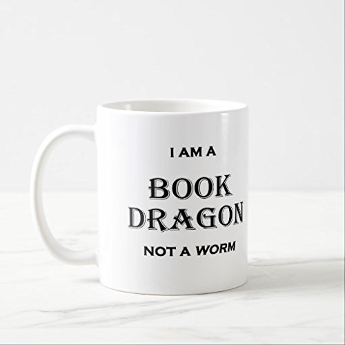 Best Funny Gifts Sarcastic I am a Book Dragon not a Worm Mug Present 11oz Daughter Coffee Mug for Mom and Dad Funny Coffee Mugs Ceramic Gift Coffee Tea Cocoa Coffee Cup