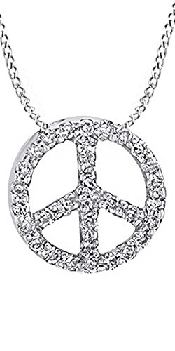 AFFY White Natural Diamond Peace Sign Pendant Necklace in 14k White Gold Over Sterling Silver (0.1 Ct)