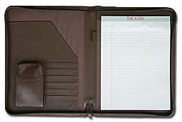 Dacasso Leather Deluxe Letter-Size Zip-Around Portfolio, Chocolate Brown  (E3402)