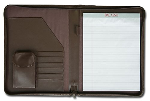 Dacasso Leather Deluxe Letter-Size Zip-Around Portfolio, Chocolate Brown  (E3402) by Dacasso