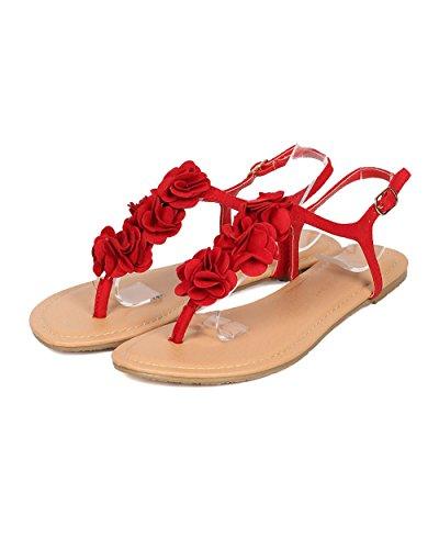 Flat by Petals HA70 Red Decor Lounge Women Sandal Suede T Faux Wild Decor Strap Floral Collection Sandal Alrisco Diva Sandal w7xtAPtq