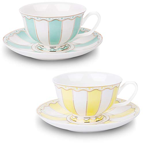 AWHOME Vintage Ceramic Teacup and Saucer Set 7 oz (Yellow Green) (Saucer Footed Teacup)