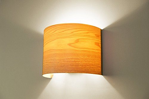 Bedroom Living Room Hallway Wall Light Fixture, Wall Lamp - Maple Arc Wood Veneer Lamp Shade